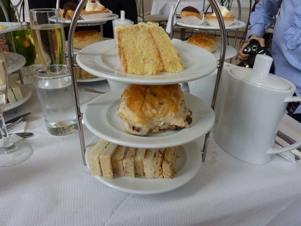 Afternoon tea plates and prosecco